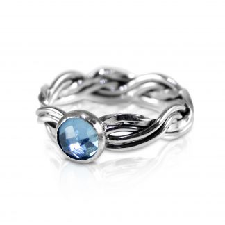 Sterling Silver Woven Ring with Swiss Blue Topaz
