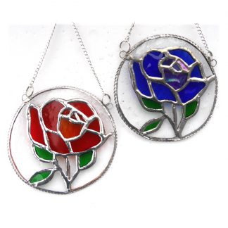 Rose ring stained glass suncatcher red blue