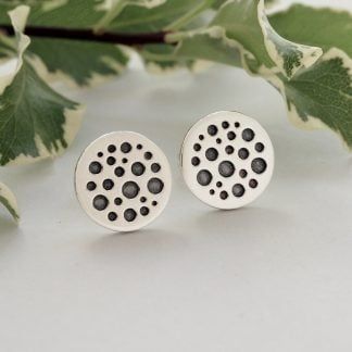 Sterling silver flat disc stud earrings with oxidised circle pattern 12mm