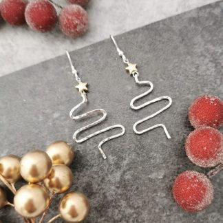 Silver Christmas Tree Earrings with gold star
