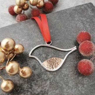 Silver and copper robin christmas decoration by Laura Llewellyn Design