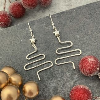 Silver Christmas Tree Earrings with silver star