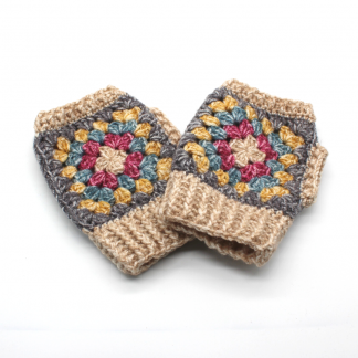 A pair of granny square wrist warmers