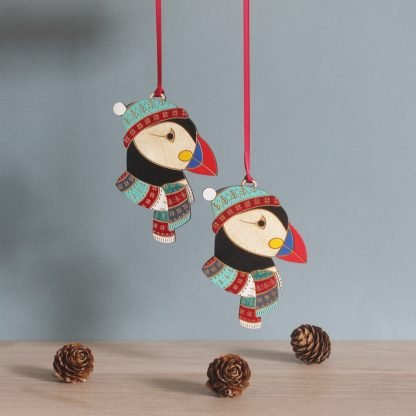 christmas puffin wooden hanging decoration etchablelaserdesign