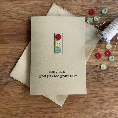 congrats you passed your test card with hand sewn buttons