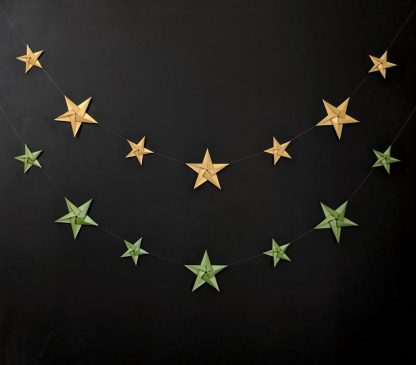 gold and green paper stars garlands