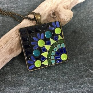 blue and green mosaic pendant
