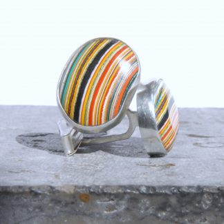 Vintage dagenham fordite and silver swivel cufflinks