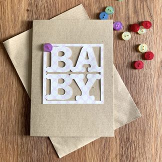 A6 card letters in a square baby