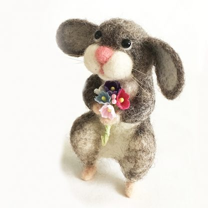 Side view of needle felted mouse