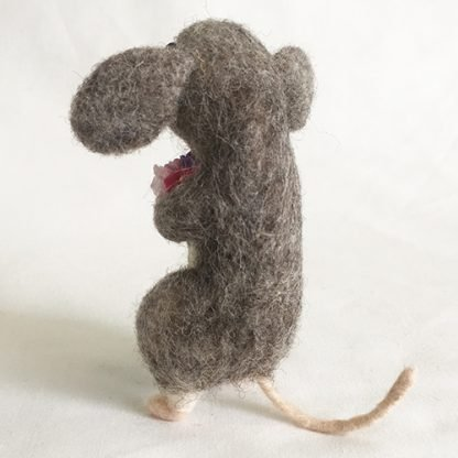 Rear view of needle felted mouse