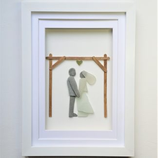 pebble art bride and groom wedding gift