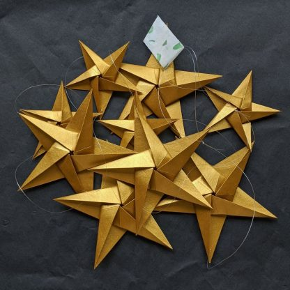origami blooms gold stars bunting