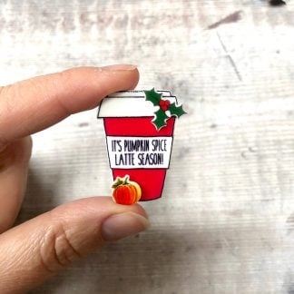 Pumpkin spice latte coffee cup pin badge