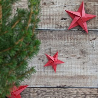 red paper star garland