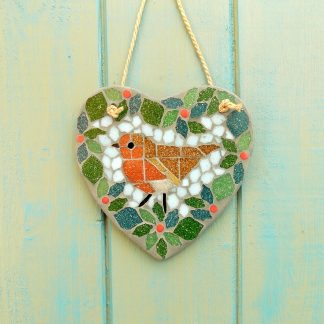 Robin Berry Wreath Mosaic Hanging Heart