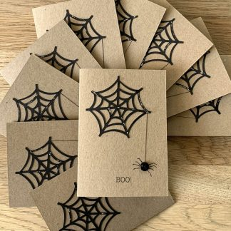 set of 10 halloween spider web note cards
