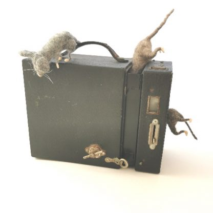 vintage kodak no.2 brownie box camera with mouse sculptures playing ornament