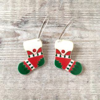 Christmas stocking drop earrings