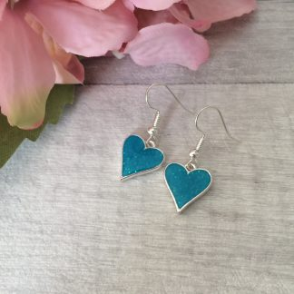 Delicate sparkly teal heart earrings