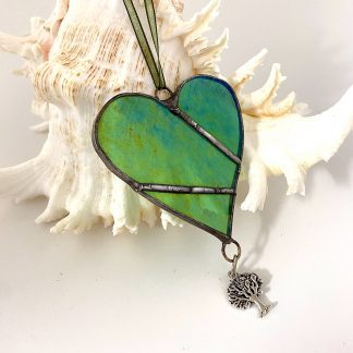 Green iridised stained glass heart with tree of life charm