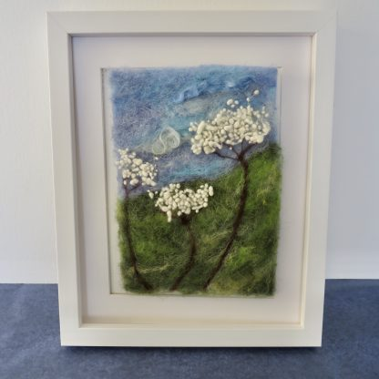 Shows framed needle felting picture kit of Cow Parsley.
