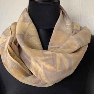 Silk scarf leaf pattern in browns