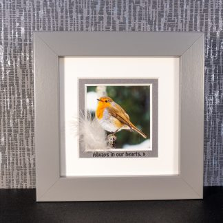 "Robin picture with feather & message ""Always in our hearts. x"""