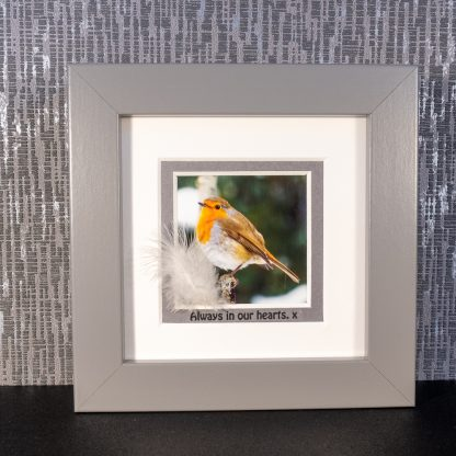 """Robin picture with feather & message """"Always in our hearts. x"""""""