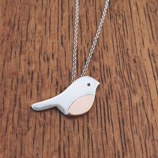 rose gold and silver robin pendant by Silverbird Designs