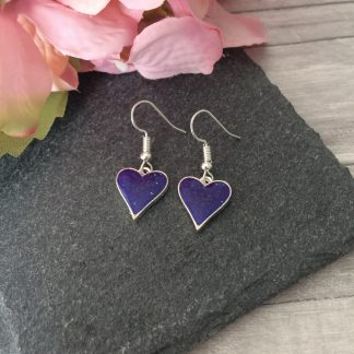 Delicate purple heart drop earrings