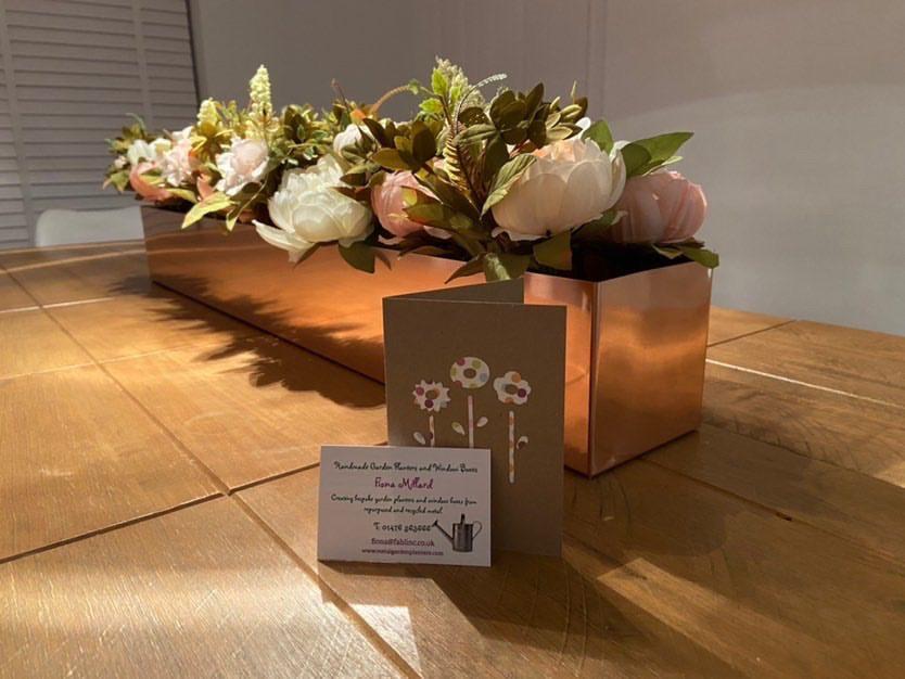 Copper window box planter