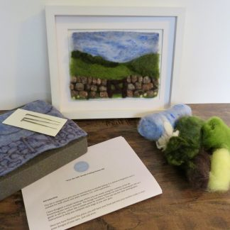 Needle felt craft kit Over the Hill.Louise Hancox Textile Artist