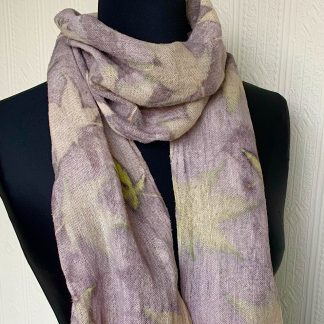 Grey and yellow floral linen scarf
