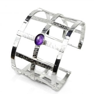 Sterling Silver Woven Textured Cuff Bracelet with Amethyst