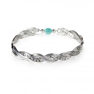 Sterling Silver Woven Bangle with Amazonite
