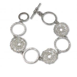 Sterling Silver Circles Bracelet with Crocheted Detail