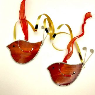 Stained Glass Robins Christmas Decoration