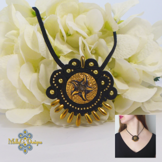 Black and Gold Soutache Necklace. MollyG designs Jewellery