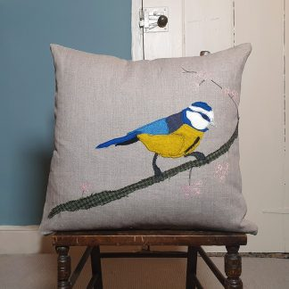 Appliqued Blue Tit and Blossom on linen cushionNov20