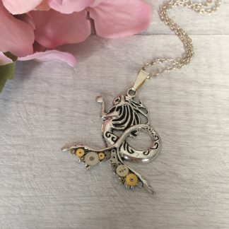 Handmade upcycled steampunk mermaid necklace