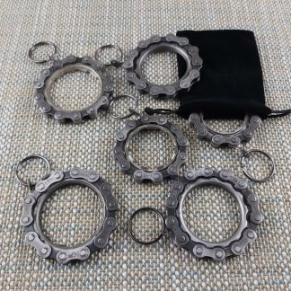 Recycled cog and chain keyring collection