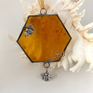 Fused glass honeycomb with bee charm