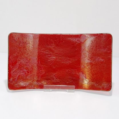 Front View of Iridescent Red Fused Glass Angular Platter