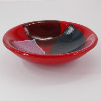 Fused Glass Bowl with Leaf Pattern