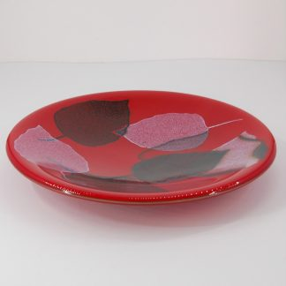 Rich Red Fused Glass Plate with Leaf Pattern