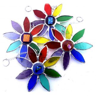 Rainbow daisy dichroic suncatcher stained glass