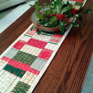 Red gold and green table runner
