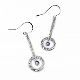 Sterling Silver Circle Earrings with Amethyst