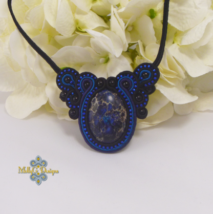 Blue Necklace in Soutache and Beads MollyG Designs